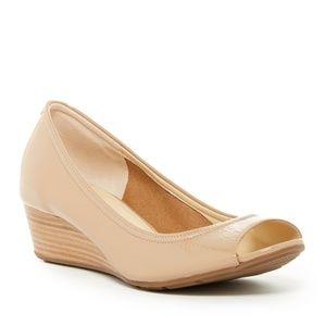Cole Haan Tali Nike Air nude peep toe wedge shoes